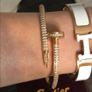 Rose gold plated nail bracelet. Engraved. 16 cm
